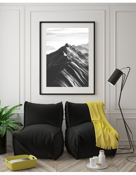 Mountain Range - Scandinavian poster with black-and-white mountains